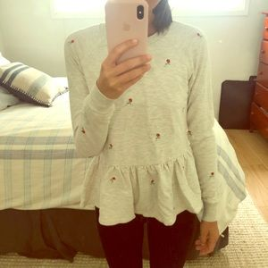 Anthro peplum sweater with embroidered roses